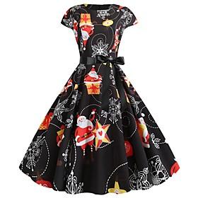 Women's A-Line Dress Knee Length Dress - Short Sleeve Print Bow Patchwork Print Summer Elegant Vintage Party Slim 2020 White Orange S M L XL XXL
