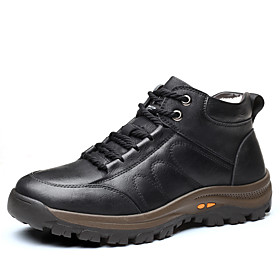 Men's Boots Work Boots British Outdoor Walking Shoes Leather Warm Booties / Ankle Boots Black / Brown Winter