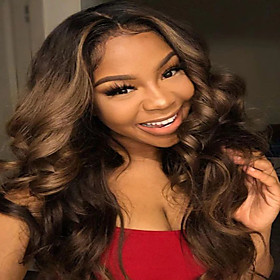 Synthetic Wig Curly Body Wave Middle Part Wig Long Dark Brown Synthetic Hair Women's Party Classic Comfortable Dark Brown
