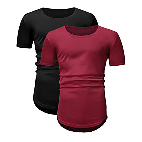 Men's 2pcs Daily T-shirt Solid Colored Short Sleeve Tops Round Neck Black / Red / Sports