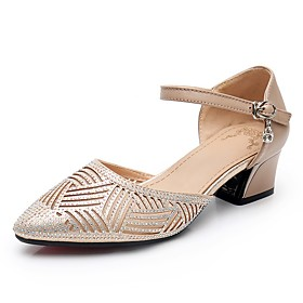 Women's Modern Shoes Heel Thick Heel PU Leather Crystal / Rhinestone Paillette Black / Gold / Silver