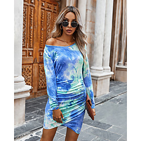 Women's Sheath Dress Short Mini Dress - Long Sleeve Tie Dye Ruched Print Spring Fall One Shoulder Sexy Slim 2020 Blue Blushing Pink Army Green Gray S M L XL