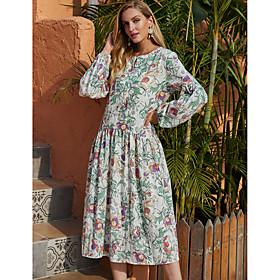 Women's A-Line Dress Midi Dress - Long Sleeve Floral Print Fall Winter Casual Elegant Lantern Sleeve 2020 White S M L XL