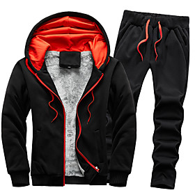 Men's 2-Piece Full Zip Tracksuit Sweatsuit Casual Long Sleeve 2pcs Fleece Thermal Warm Breathable Soft Running Jogging Sportswear Solid Colored Plus Size Outfi