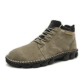 Men's Boots Casual Daily Outdoor Walking Shoes Pigskin Handmade Wear Proof Booties / Ankle Boots Dark Brown / Black / Dark Green Fall / Winter
