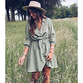 Women's A-Line Dress Short Mini Dress - Long Sleeve Polka Dot Bow Print Spring Fall Shirt Collar Casual Slim 2020 Green S M L XL