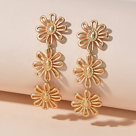 Women's Drop Earrings Geometrical Petal Romantic Earrings Jewelry Gold For Birthday Festival