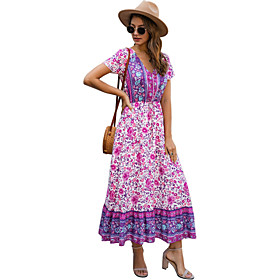 Women's Swing Dress Maxi long Dress - Short Sleeve Print Print Summer V Neck Casual Cotton Slim 2020 Blue Purple Red Yellow Green S M L XL XXL