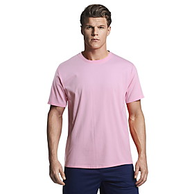 Men's Causal T-shirt Solid Color Short Sleeve Tops 100% Cotton White Black Pink