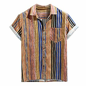 men's casual button-down shirts, colorful stripe short sleeve loose beach pocket fitness top khaki