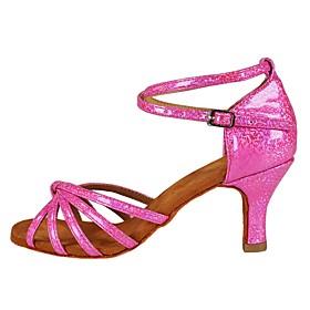 Women's Latin Shoes Heel Flared Heel Suede Buckle Glitter Dark Red / Pink / Silver