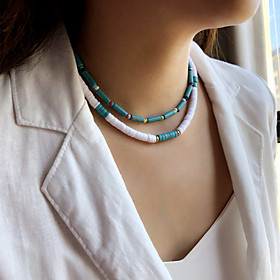 Women's Choker Necklace Beaded Necklace Handmade Friends Precious Joy Lucky Simple Luxury Unique Design Fashion Silicone Glass Stone Blue 40 cm Necklace Jewelr