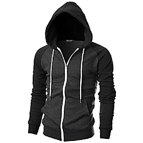 Men's Hoodie Zip Up Hoodie Sweatshirt Solid Colored Sports  Outdoors Hoodies Sweatshirts  Black Red Light Gray