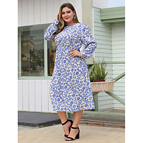 Women's Sheath Dress Midi Dress - Long Sleeve Floral Patchwork Fall Plus Size Casual Loose 2020 Blue L XL XXL 3XL 4XL