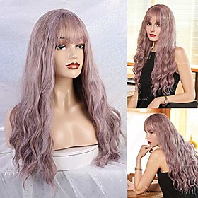 long wave wigs hair thin bangs synthetic wig for women 28 inches natural curly wave with air bang replacement wig for party cosplay body wavy mix light purple
