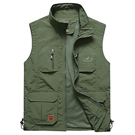 Men's Vest Regular Solid Colored Daily Basic Army Green Khaki Navy Blue M L XL