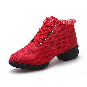 Women's Ballet Shoes Heel Thick Heel Mesh Black / Red
