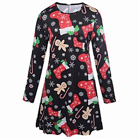 Women's Sheath Dress Knee Length Dress - Long Sleeve Print Print Summer Casual Elegant Going out Loose 2020 Black Red S M L XL XXL
