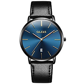 men's ultra thin slim big face date leather analog wrist watches waterproof for male teen boys gift classic casual minimalist blue large dial rose gold quartz