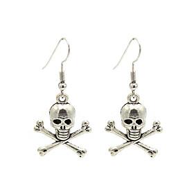 Women's Hoop Earrings Retro Skull Punk Earrings Jewelry Silver For Halloween Festival 2pcs