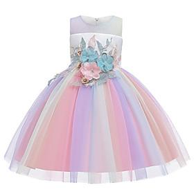 Toddler Girls' Rainbow Print Knee-length Dress Rainbow