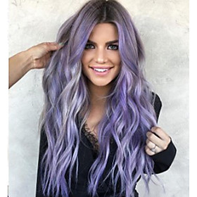 Synthetic Wig Body Wave Middle Part Wig Long Very Long Purple / Blue Synthetic Hair 65 inch Women's Party Highlighted / Balayage Hair Middle Part Purple