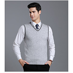 Men's Basic Christmas Deep V Glitter Knitted Color Block Solid Color Check Pullover Wool Sleeveless Sweater Cardigans V Neck Deep V Fall Winter Black Light gra