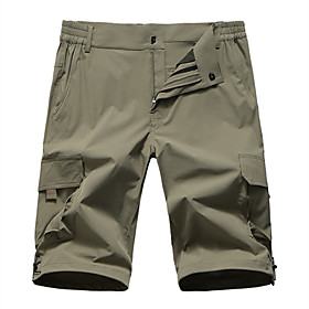 Men's Basic Daily Shorts Pants Solid Colored Breathable Khaki Navy Blue S M L