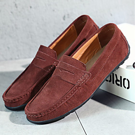 Men's Loafers  Slip-Ons Casual Daily Suede Wear Proof Dark Brown / White / Black Spring / Fall