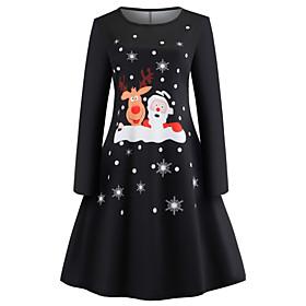 Women's Swing Dress Short Mini Dress - Long Sleeve Print Zipper Print Fall Vintage Christmas Slim 2020 White Black Red S M L XL XXL