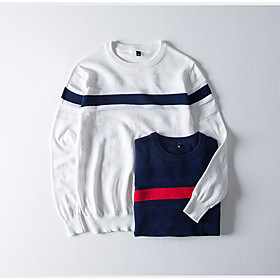 Men's Basic Knitted Color Block Pullover Cotton Long Sleeve Sweater Cardigans Crew Neck Spring Fall White Blue