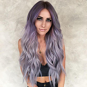 Synthetic Wig Curly Body Wave Middle Part Wig Long Very Long Bright Purple Synthetic Hair 65 inch Women's Party Highlighted / Balayage Hair Middle Part Purple