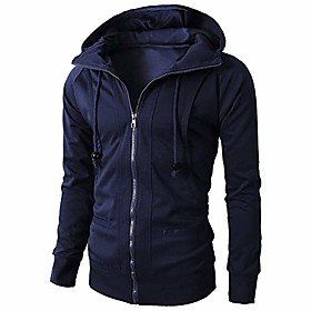 fashion men's pure color long sleeve sport zipper hoodie pullover blouse navy