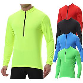 Men's Long Sleeve Cycling Jersey Winter Polyester Black Blue Mint Green Bike Sweatshirt Jersey Top Mountain Bike MTB Road Bike Cycling Breathable Quick Dry War