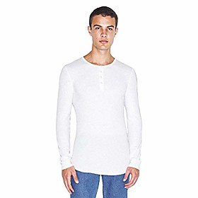 men's baby thermal long sleeve henley, white, 2x-large