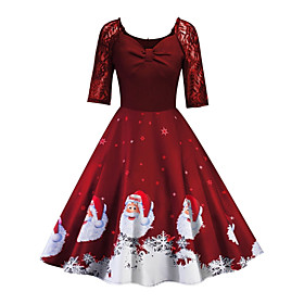 Women's A-Line Dress Knee Length Dress - Half Sleeve Print Lace Print Summer Fall V Neck Vintage Christmas Slim 2020 Black Blue Purple Red S M L XL