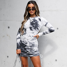 Women's Sheath Dress Short Mini Dress - Long Sleeve Tie Dye Print Fall Elegant Slim 2020 Black Khaki S M L