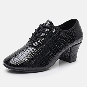 Women's Dance Shoes Latin Shoes / Modern Shoes / Practice Trainning Dance Shoes Heel Thick Heel Black / Red / Performance
