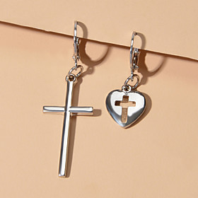 Women's Mismatch Earrings Hanging Cross Earrings Geometrical Cross Sweet Heart Fashion Earrings Jewelry Gold / Silver For Engagement Birthday