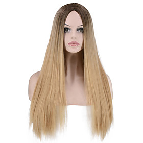 Synthetic Wig Straight kinky Straight Middle Part Wig Long Light Blonde Synthetic Hair Women's Party Classic Comfortable Light Brown