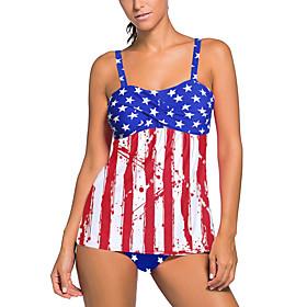 Women's Star Style Online Canada Tankini Swimsuit Stripe Striped Strap Swimwear Bathing Suits Blue Royal Blue / Padded Bras