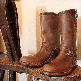Men's Boots Work Boots Casual Daily PU Wine / Black / Brown Winter