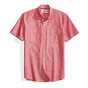 amazon brand - men's short-sleeve chambray shirt, red, small