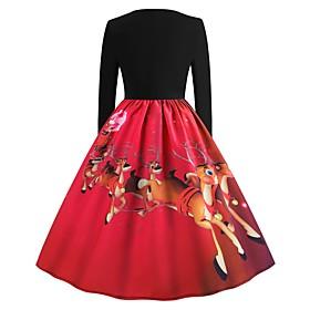 Women's A-Line Dress Knee Length Dress - Long Sleeve Color Block Animal Print Summer Elegant Christmas Slim 2020 Blue Red Green S M L XL XXL
