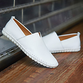 Men's Loafers  Slip-Ons Casual Daily Walking Shoes Nappa Leather Breathable Handmade Non-slipping White / Black / Yellow Fall
