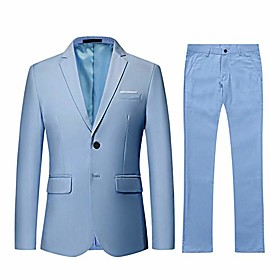 men's 2 piece suit slim fit solid two-button notched lapel casual elegant tuxedo light blue