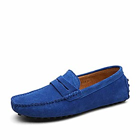 men's boat shoes fashion slipper buckle style loafers moccasin driving shoes flats sapphire blue
