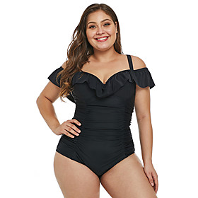 Women's Plus Size Sexy Off Shoulder One-piece Swimsuit Ruffle Criss Cross High Waist Solid Colored Strap Swimwear Bathing Suits Black / Padded Bras