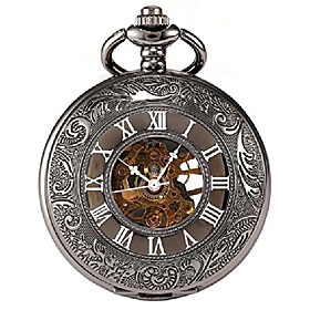 men's black tone roman engraved steampunk gold skeleton mechanical pocket watch with chain