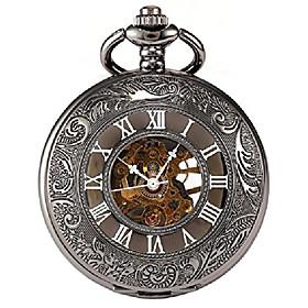 men's black tone roman engraved steampunk gold skeleton mechanical pocket watch with chain